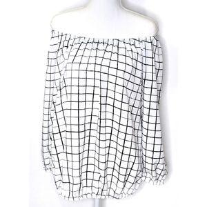 Off Shoulder Black White Grid Checkered Blouse